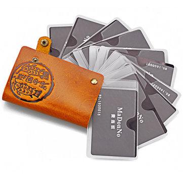 Vrouwen Mannen Genuine Virgin Leather 10 Credit Card Holder ID Bus Card Case Short Portefeuilles