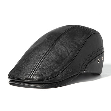 Mens Man-made Leather Solid Beret Hat Casual Autumn Warm Golf Forward Caps Adjustable