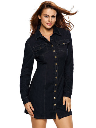 Black Retro Single Breasted kraag lange mouw Slim Mini Denim Dress