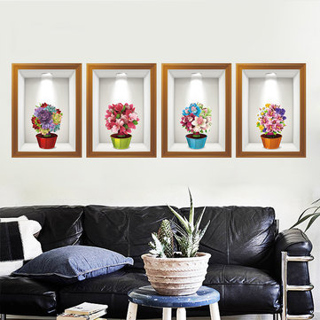 Flowers 3d Frame Creative Wall Stickers Background European Three - Dimensional Wall Stickers
