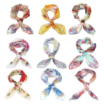 60x60cm Women Soft Flower Chiffon Small Square Scarf Scarves Bandanas Neck Accessories