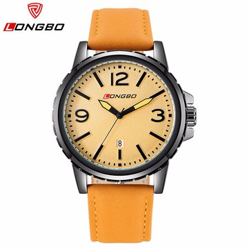 LONGBO Men Watch Leather Stainless Steel Sport Outdoor Waterproof Watch