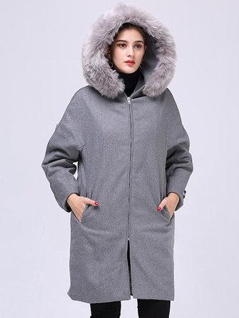 Plus Tamaño Casual Mujer Collar de piel sintética Abrigos de lana con capucha