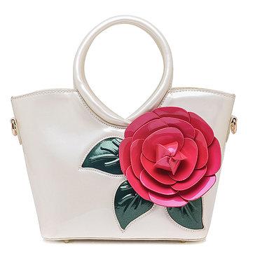 Women Pearl Patent Leather Coloful Flower Handbag