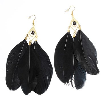 Vintage Metal Handmade Feather Long Drop Earrings Jewelry