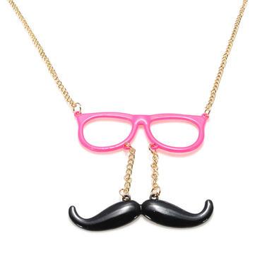Cute Glasses Moustache Mustache Long Chain Necklace