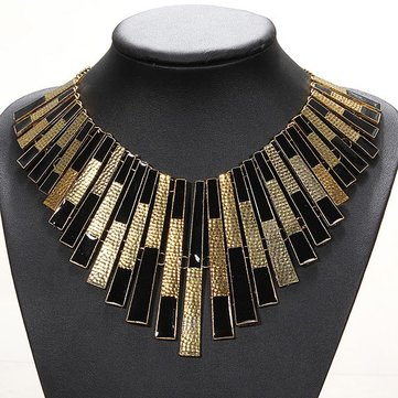 Gold And Black Bib Chunky Statement Necklacee Collars Choker