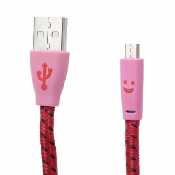 Smiling Face Hemp Rope Micro USB Cable For Mobile Phone