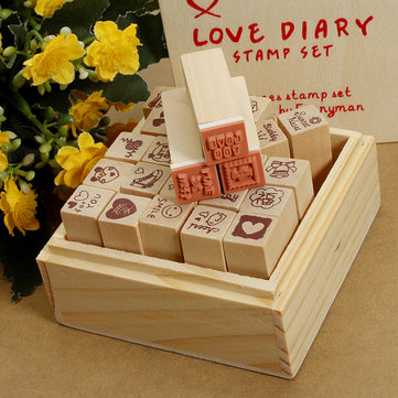 Antique Wooden Boxes Love Diary Pattern