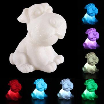 Köpek Şekil 7 Renk Değişimi Dekorasyonu LED Lamba Gece Işığı Gece Kıyısı