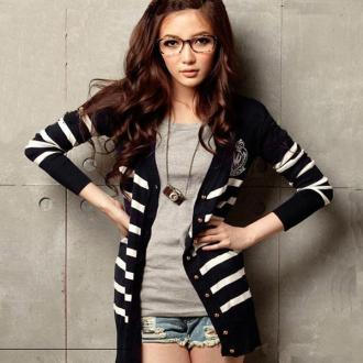 2012 New Style Korea Women's Casual Striped Autumn Long Cardigans