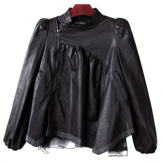 Fashion Women Lace Splicing Puff Sleeve Stand Collar PU Leather Outerwear