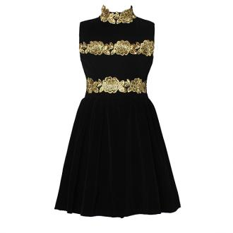 2013 New Arrival Lady Black Elegant Cocktail Corduroy Pleated Dress