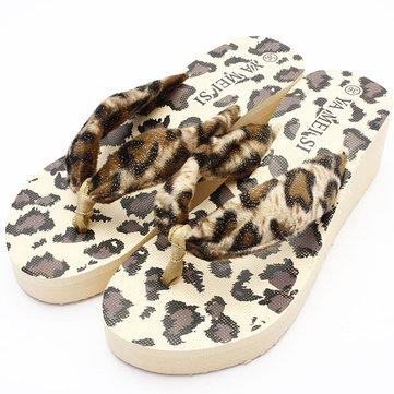 Leopard Flip Flops Thong Platform Wedge Heel Beach Slippers