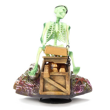 Esqueleto no baú do tesouro aquário ação ar-ornamento