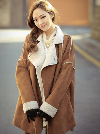 Women Khaki Lapel Patchwork Pockets Faux Fur Thicken Coat