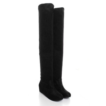 Women Flat Bottom Boots Shoes Over The Knee High Suede Long Boots ...