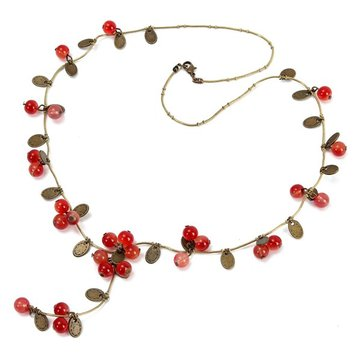 Vintage Red Cherries Beads Long Chain Sweet Necklace Valentine's Day Gift for Women