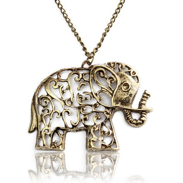 Vintage Hollow Out Carving Elephant Pendant Necklace Long Chain