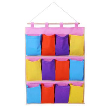 12 بوكيتس الرئيسية منظمة أداة حامل جدار القماش الملونة شنقا حقيبة التخزين