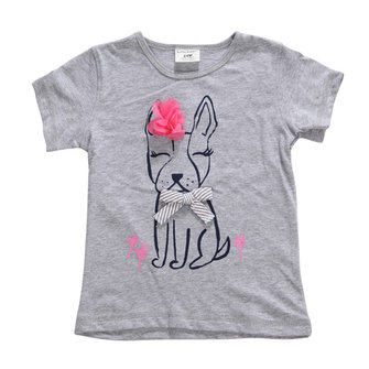 2015 New Little Maven Summer Baby Girl Children Dog Grey Cotton Short Sleeve T-shirt