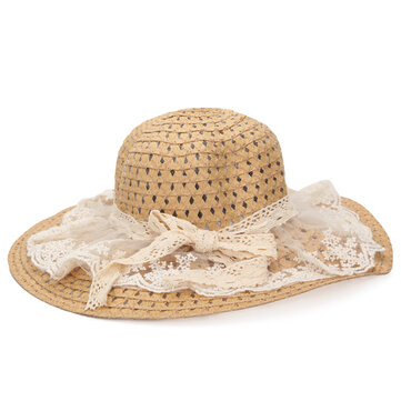 Fashion Lace Bowknot Sun Hat Women Beach Straw Hat Cap