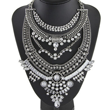 Vintage Bib Rhinestone Crystal Statement Choker Necklace For Women