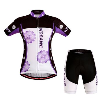 WOSAWE Woman Short Sleeves Cycling Jersey Cycling Sportswear Bicycle Bike Suit With Gel Pad