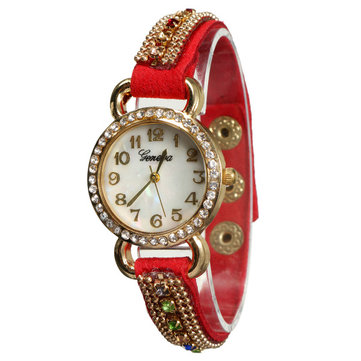 Elegant Rhinestone Gold Color Case Women Bracelet Analog Watch