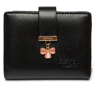 Candy Color Lucky Clover Diamond Women Short Purse Wallet