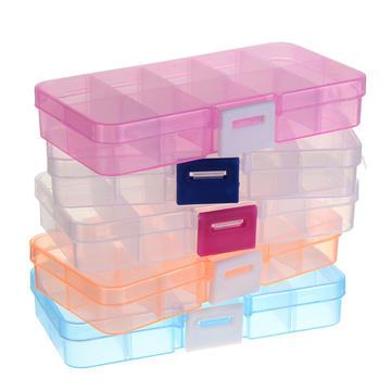 10 slots plastic organizer beads craft jewelry storage box adjustable case sa - Boite de rangement dosette senseo ...