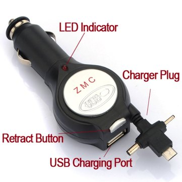 Retractable USB Car Charger SAMSUNG Infuse EPIC 4G i997
