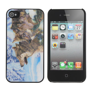 3D Effect Wolves In the Snowfield Pattern Case Cover For iPhone 4 4S