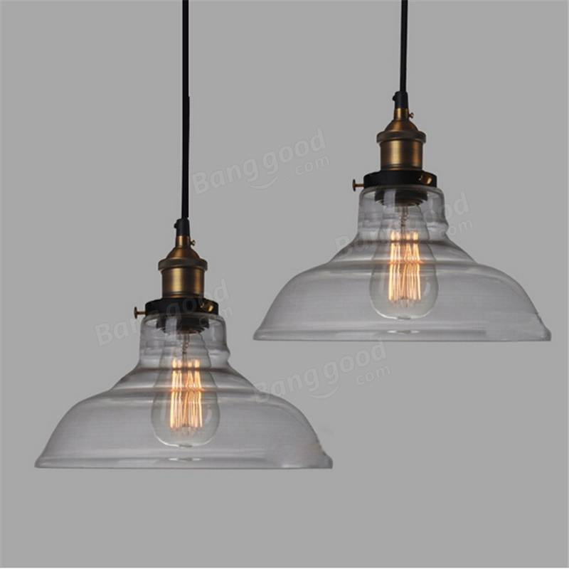 Vintage Industrial Glass Pendant Light: E27 28CM Vintage Industrial Ceiling Lampshade Glass