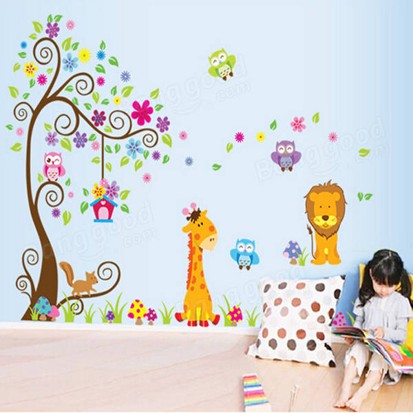 owl lion tree wall stickers removable wallpaper cartoon children rooms decor at banggood. Black Bedroom Furniture Sets. Home Design Ideas