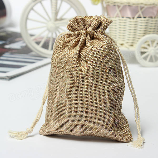 Faux Burlap Hessian Mini Bags Rustic Wedding Favor Gift