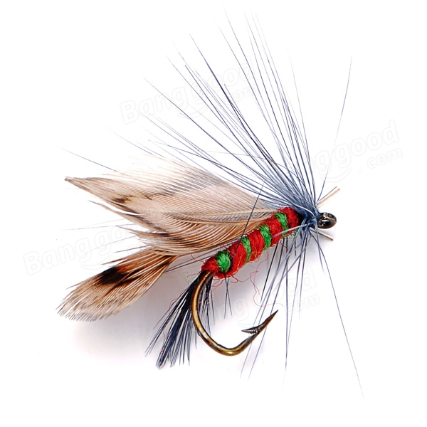 12pcs fly fishing hooks fishing lures feather bait hook