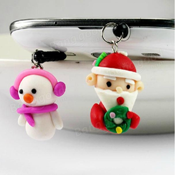 Christmas Celebration Decoration Happy Santa Claus Phone Dust Plug