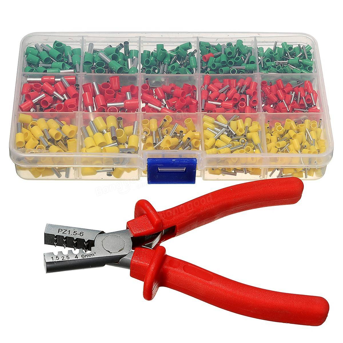 crimping tool crimper plier with 990pc tube end ferrule terminals assortment kit sale. Black Bedroom Furniture Sets. Home Design Ideas