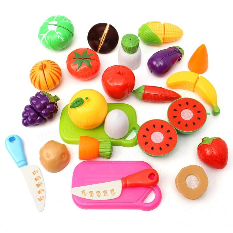 Play Kitchen Food 20pcs kitchen fruit vegetables food toy cutting set kids pretend