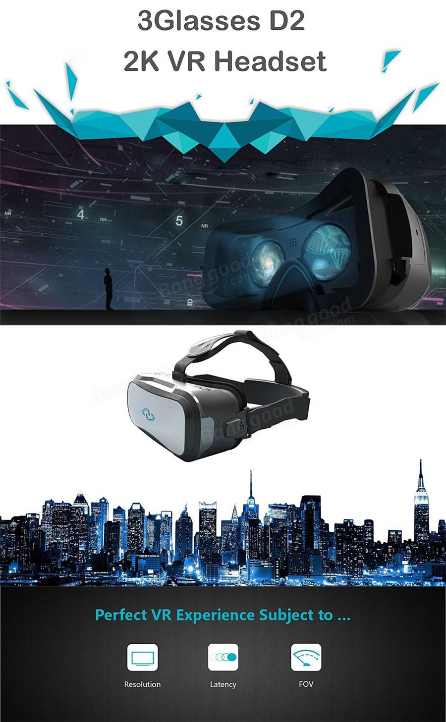 3Glasses D2 3D Virtual Reality VR Headset PC Version 2K Adjustable 3D Private Theater with Touch Panel FOV110 IPD