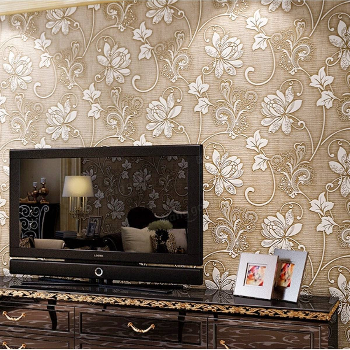 10M 3Ft Floral 3D Non Woven Wallpaper Roll Embossed Textured