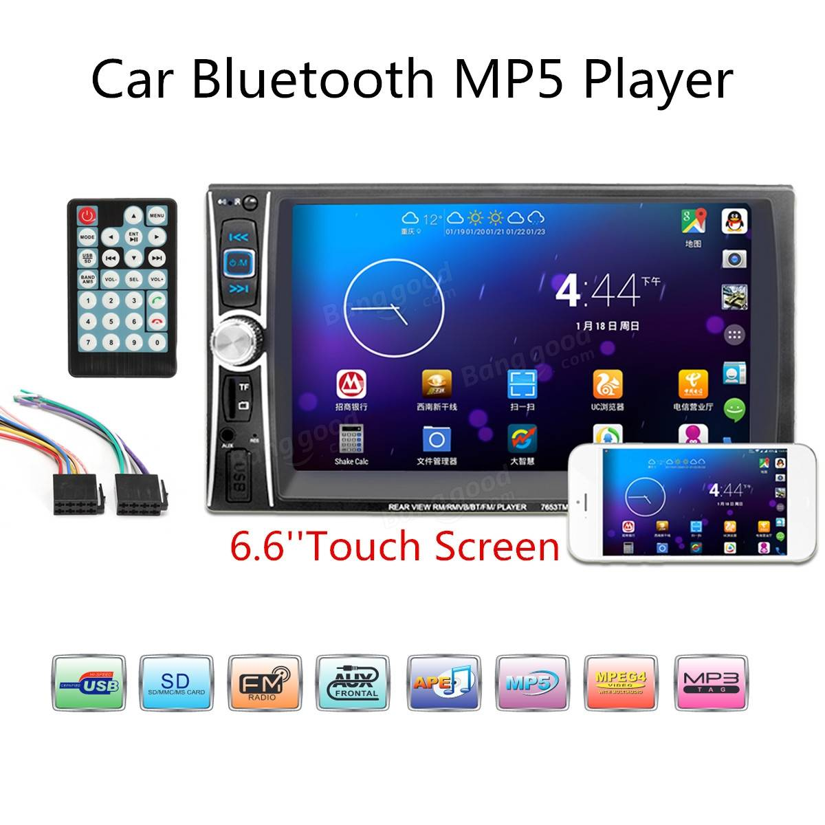 7653tm 6 6 inch 2 din bluetooth touchscreen car mp5 player stereo radio fm usb aux camera sale flac 3d user manual Manuals in PDF