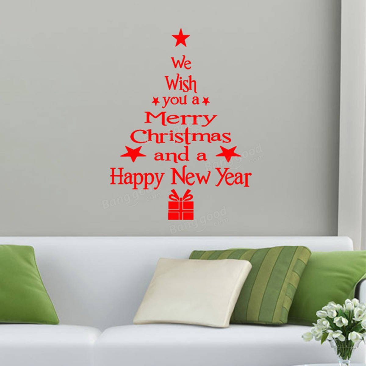 Removable Merry Christmas Tree Wall Window Sticker Home