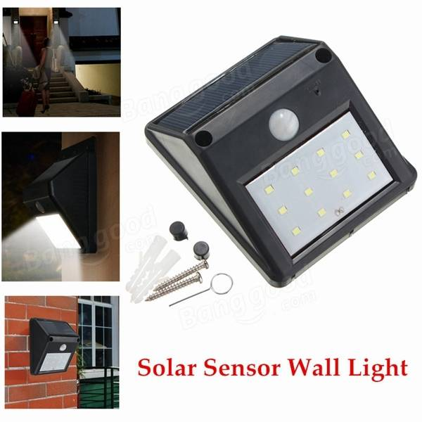 12 LED Solar Powered PIR Motion Sensor Light Outdoor Garden ...