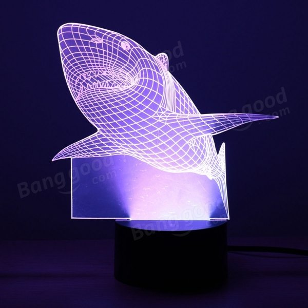 Touch 7 Color Changing LED 3D Illuminated Shark Lamp USB Illusion ...