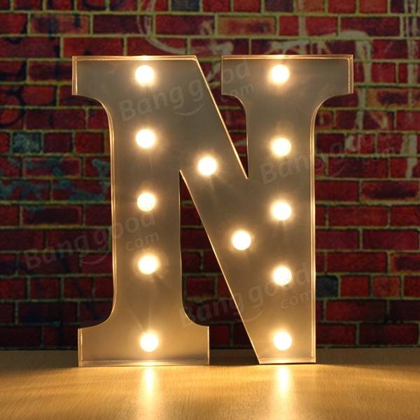 Vintage metal led light diy letter n to x sign carnival for Letter n decorations