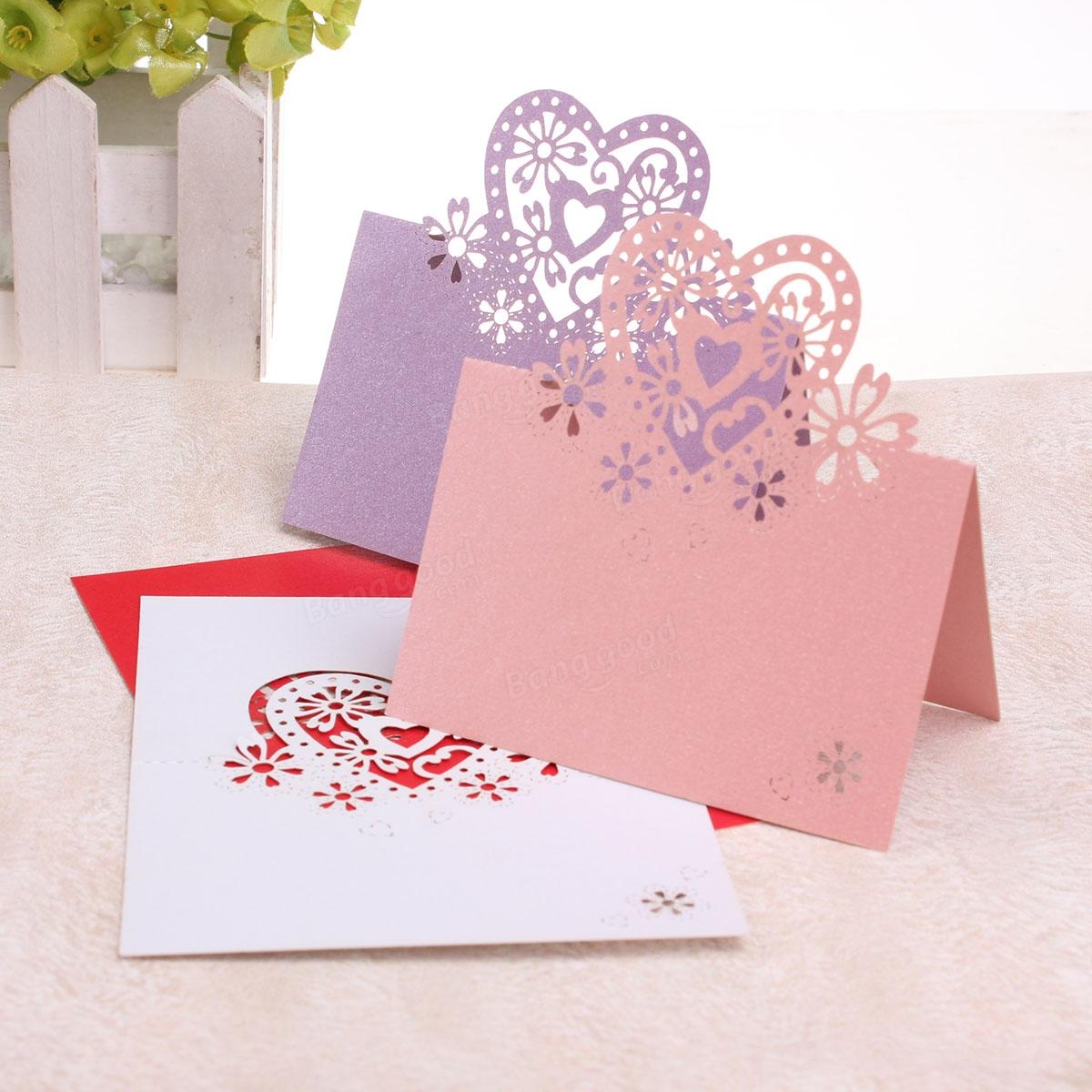 10pcs amour coeur table de forme carte de place carte de voeux anniversaire de mariage table de. Black Bedroom Furniture Sets. Home Design Ideas