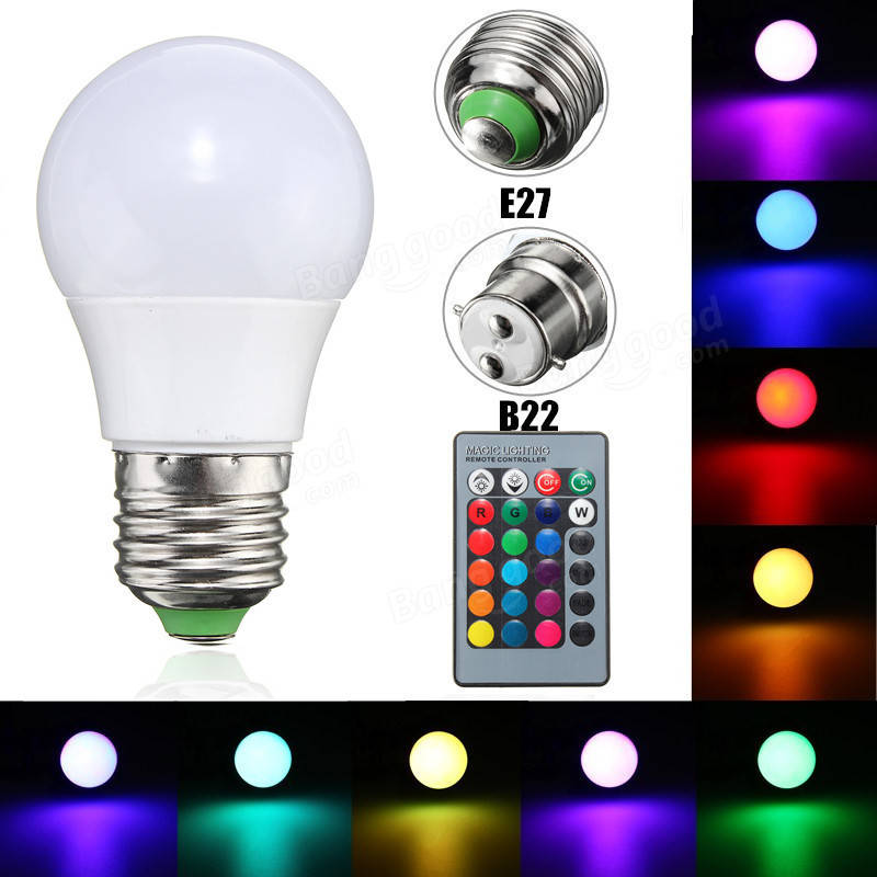 3W E27/B22 Dimmable RGB LED Light Color Changing Lamp Bulb + 24 Key Remote