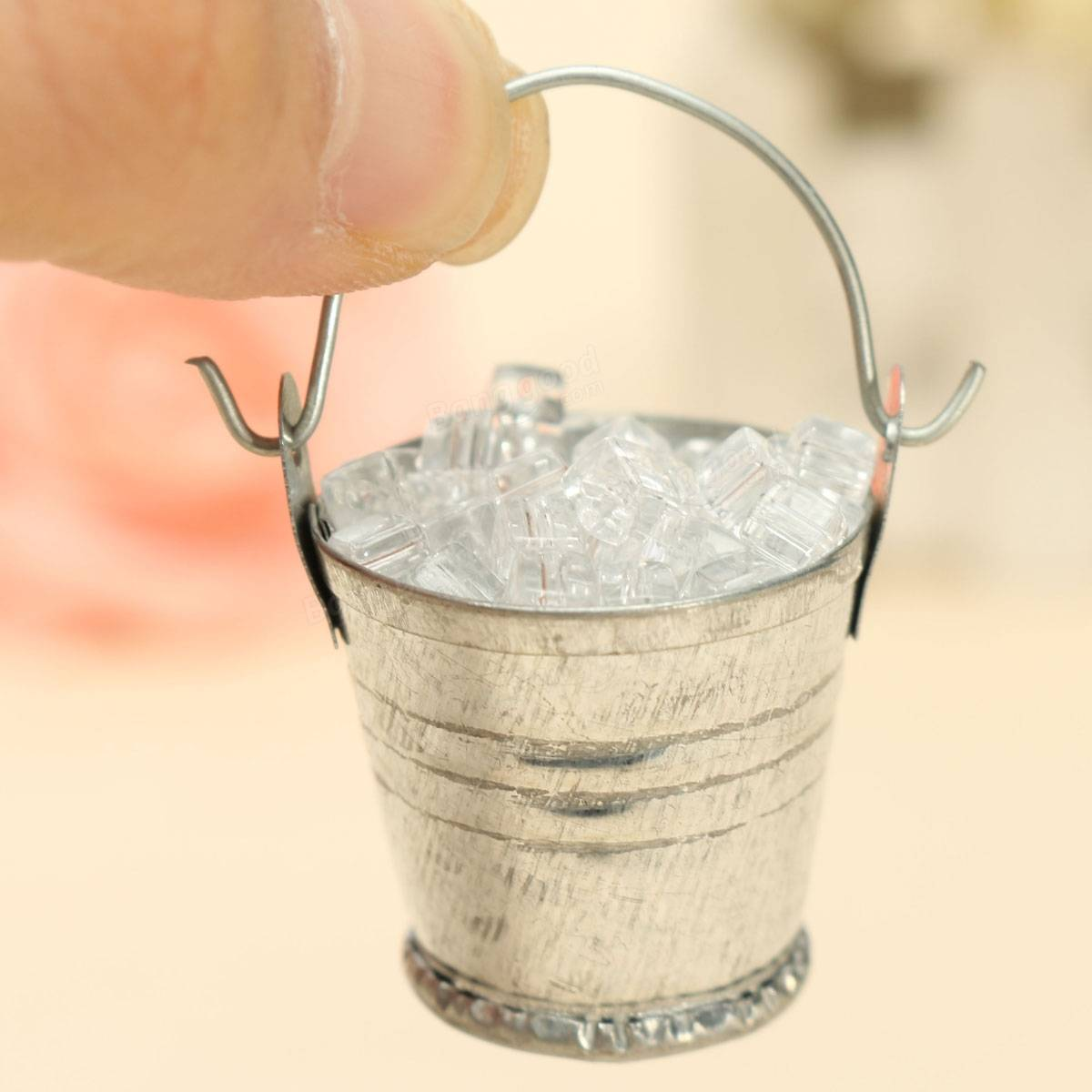 Kitchen Ornament Dollhouse Miniature Ice Cube Metal Iron Pail Home Kitchen Bar Diy